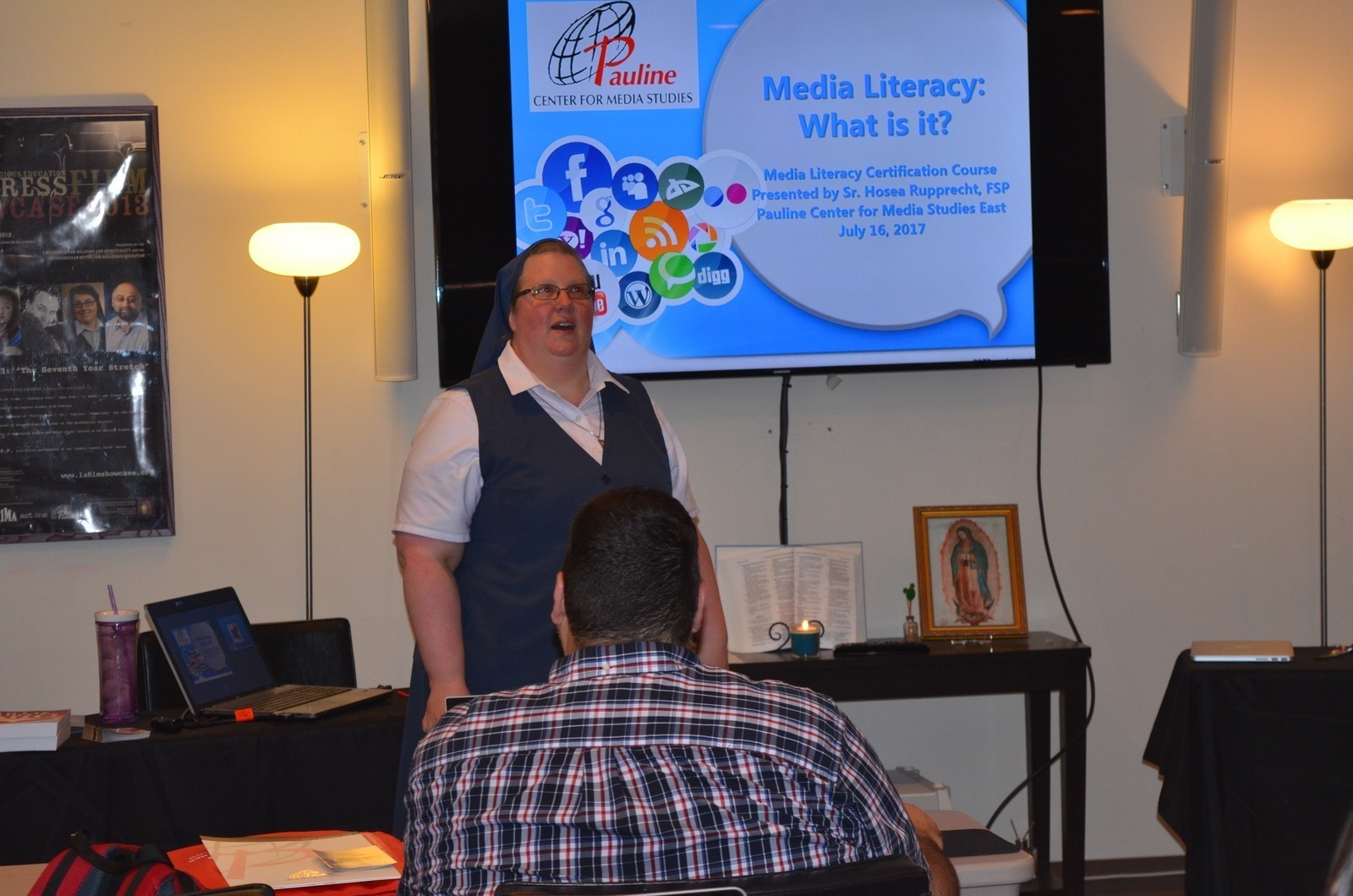 Sr. Hosea teaching at the 2017 Media Literacy Course
